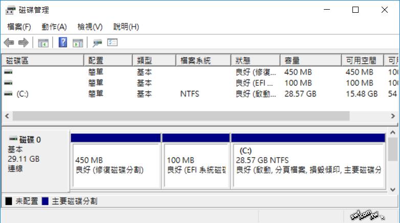 Windows 10系统预设的磁碟分区